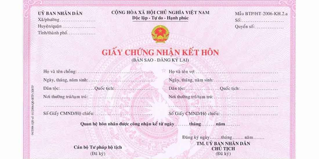 giấy chứng nhận kết hôn